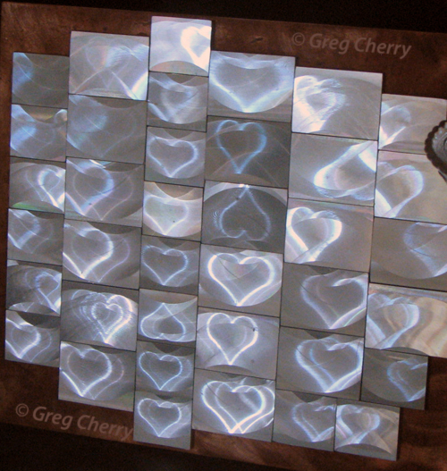 Heart Mill etched holograms by Greg Cherry  copper composite by Nancy Gorglione
