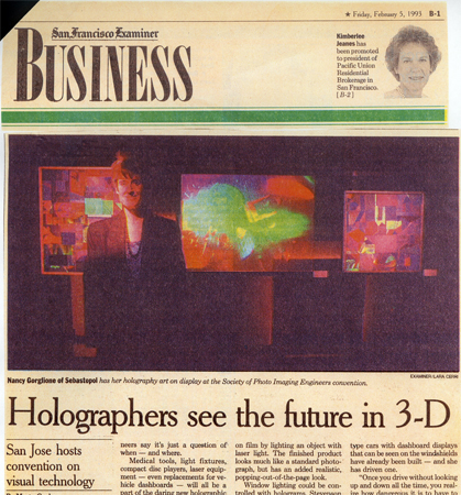 Holographers See the Future in 3D SF Examiner picturing N Gorglione with holograms1