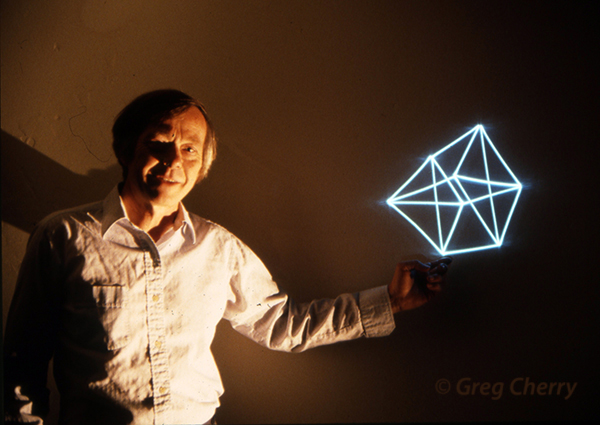 LLoyd Crosss with his son's laser scan image photo by Greg Cherry